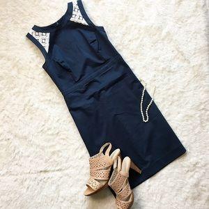 Ann Taylor • Navy Blue Sheath Dress w/ Lace Back